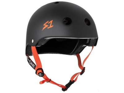 S1 Lifer Helmet Black Matt inc Orange Strap