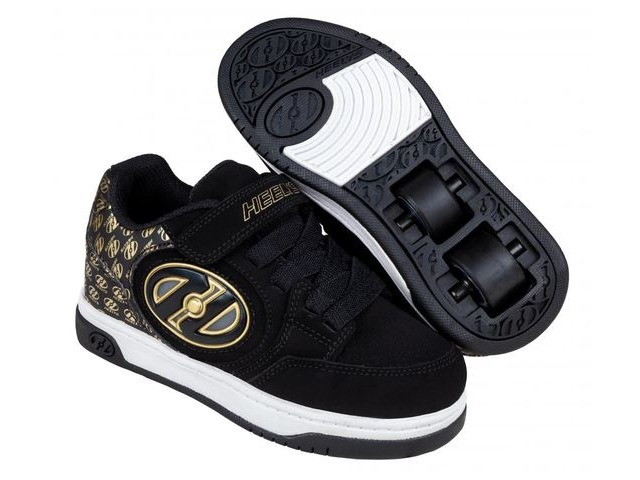 HEELYS Plus X2 Lighted, Black/Gold/Logo click to zoom image